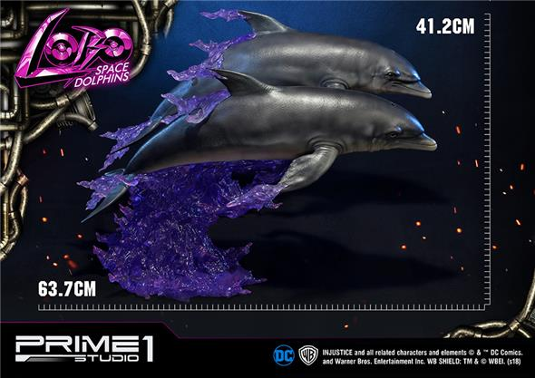 LOBO INJUSTICE SPACE DOLPHINS STATUE