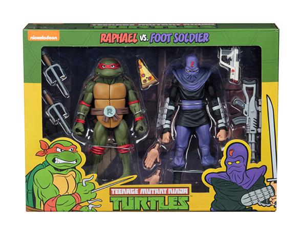 NECA - TMNT CARTOON RAPHAEL VS FOOT SOLIDER 2PK